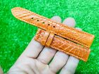 18/16mm Gold Tan Genuine Crocodile Alligator leather watch strap band