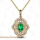 14k Yellow Gold Natural Colombia Emerald Diamonds Pendant For Necklace