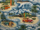 SURF BOARDS WOODY CARS PALM TRESS BLUE COTTON FABRIC FQ OOP