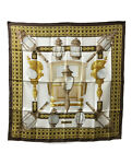 authentic HERMES Scarf Stole Shawl Bandana Accessory Brown