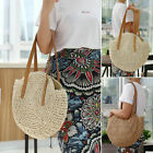 Women Straw Bag Handwoven Round Rattan Handbags Knitted Crossbody Bag Tote