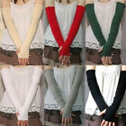 Lady UV Sun Protection Arm Warmer Long Fingerless Cotton Gloves Sleeves Clever