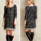 Moth Anthopologie Women's Black Textured Fitted Sheath Sweater Dress Size XS