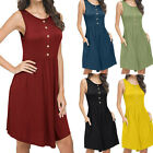 Women's Summer Sleeveless Casual Loose Swing T-Shirt Dress with Pockets Dress HY