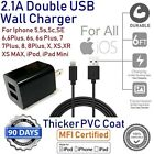 Extr Durable 6ft Long 8 Pin USB Cable Power Cord for iPhone + CUBE Wall Charger