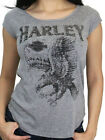 Harley-Davidson Womens Flight Eagle Studded Grey Cap Sleeve Scoop T-Shirt $14.99 USD on eBay