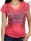 Harley-Davidson Ladies Victorian Wings Coral Burnout Short Sleeve V-Neck T-Shirt $19.99 USD on eBay