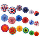 6pcs Patriotic Paper Fans USA Design for 4th of July Independence Day