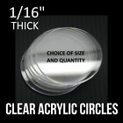 "1/16"" Thick Clear Acrylic Circles Clock Plexiglass Round Face Disc Lens Plastic"