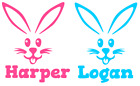 Personalised Name Bunny Face Easter Sticker