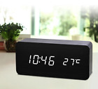 Wood Cube LED Alarm Control Digital Desk Clock Wooden Style bedroom Temperature