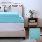 Memory Foam Mattress Topper 2.5/3/4 Inch Gel Lavender Blue Swirl Queen King Dot  image