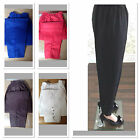 New Ladies  Pencil Capri Cotton Elasticated Pants with Button Detail Trousers