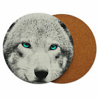 Classic Wolf Blue eyes Design Round Wood Cork Drink Coasters D11