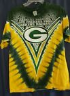 MENS GREEN BAY PACKETS NFL APPAREL V TIE DYE SHIRT SIZE Large DOUBLE SIDED