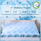 Gel Memory Foam Mattress Topper 2.5/3/4 Inch Lavender Blue Swirl Queen King Twin image