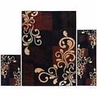 Area Rug Set 3 Piece Red Carpet Living Room Bedroom Modern Contemporary Large