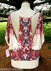 NWT Free People ivory red blue print drapy rayon dolman open back top M