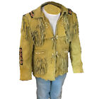 Mens Cowboy Western Jackets Suede Leather Traditional Fringes Beats Bones Coats