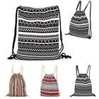 Unisex Outdoor Canvas Bags Drawstring Storage Gym School Travel Sports Backpack