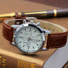 Fashion Men Women Casual Leather Strap Analog Quartz Wrist Watch Male Watches image