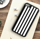 Phone Case Black White Strips Pattern Hard - Rubber Protective Cover For iPhone