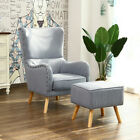 High Back Studs Vintage Wool Fabric Armchair Fireside Footrest Suite Chair Sofa