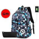 Backpack Student College Waterproof Nylon Women Laptop Bag School USB CHARGE HOT