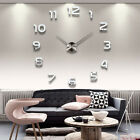 3D DIY Modern Large Frameless Wall Clock Mirror Number Sticker Home Decor Decal