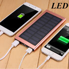 Ultra Thin 500000mAh Solar Power Bank 2USB LED Battery Charger for Phone Tablet