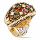 Magerit Versailles Fuente Big 18K Yellow Gold Diamond, Sapphire and Peridot Ring