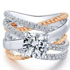 Two Tone 925 Silver,Rose Gold Plated Wedding Ring White Sapphire Size 5-12 image