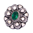 Rose Cut Diamond 3.3ct Emerald 14kt Gold 925 Sterling Silver Floral Ring Jewelry