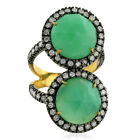 7.85ct Chrysoprase Pave Diamond 18kt Gold .925 Sterling Silver Ring Jewelry