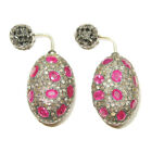 ANTIQUE LOOK Double Sided Earrings 5.95ct Pave Diamond Ruby 925 Silver 14k Gold