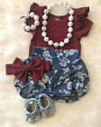 US Stock Newborn Infant Baby Girl Floral Clothes Tops Romper+Short Pants Outfits