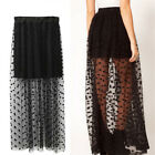 Women High Waist Sheer Gauze Mesh Tulle Lace Dots Gothic Long Maxiirt Dres  JP