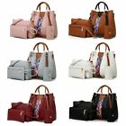 4PCS Set Women Leather Handbag Shoulder Tote Bag Lady Clutch Purse Card Wallets image