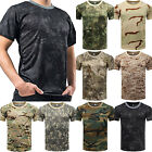 Men Tactical Breathable Camo Quick Dry Tops Short Sleeve Tee Mesh T-Shirt Blouse image