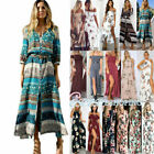 Boho Womens Floral Side Slit Long Dress Summer Beach Party Casual Loose Sundress