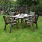 Barrowden Outdoor Wooden Garden Dining Set / Table / Patio Furniture - 4 Chairs
