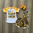 US Summer Toddler Baby Girl Clothes Sunflower Tops Shorts Pants Outfits