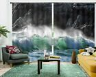 Green Wave Slapping 3D Curtain Blockout Photo Printing Curtains Drape Fabric