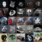 Vintage Mens Silver Stainless Steel Gothic Punk Ring Biker Band Finger Rings Lot