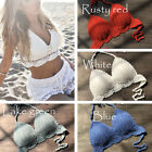 Women Crochet Halter Knitted Swimsuit Bikini Bathing Suit Top Beach Bralette