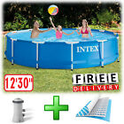 "Above Ground Swimming Pool 12'x30"" Metal Round Filter Pump Kid Family Intex"