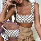 Women Tops Womens Nightclub Cropped Checked Blouse Ladies Sports Plaid Clothing