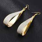 "1.6"" Drop Leverback Earrings 14k Yellow Gold Plated Crystal Cut ITALIAN MADE image"