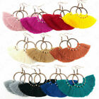 Womens 2019 Fashion Tassel Earring Fringe Circle Round Drop Straw Boho Earrings image