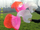 Hand Made Colorful Belly Dance Dancing Silk Bamboo Long Fans Veils 1 Pair P